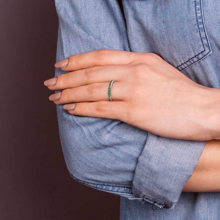 Pave Emerald Gemstone Ring in Platinum | 07