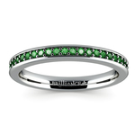 Pave Emerald Gemstone Ring in White Gold | Thumbnail 02