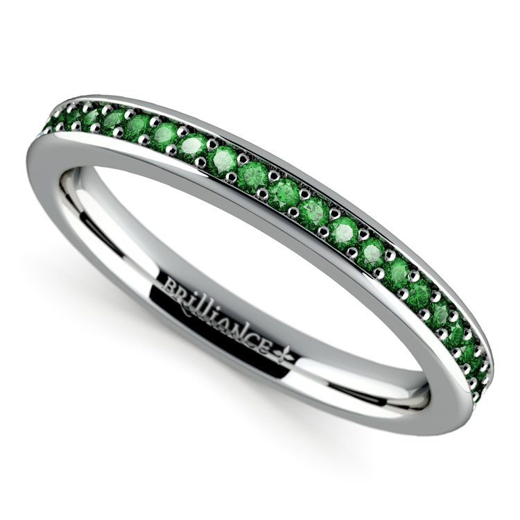 Pave Emerald Gemstone Ring in White Gold | 01