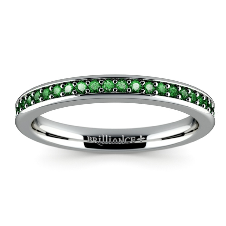Pave Emerald Gemstone Ring in White Gold | 02