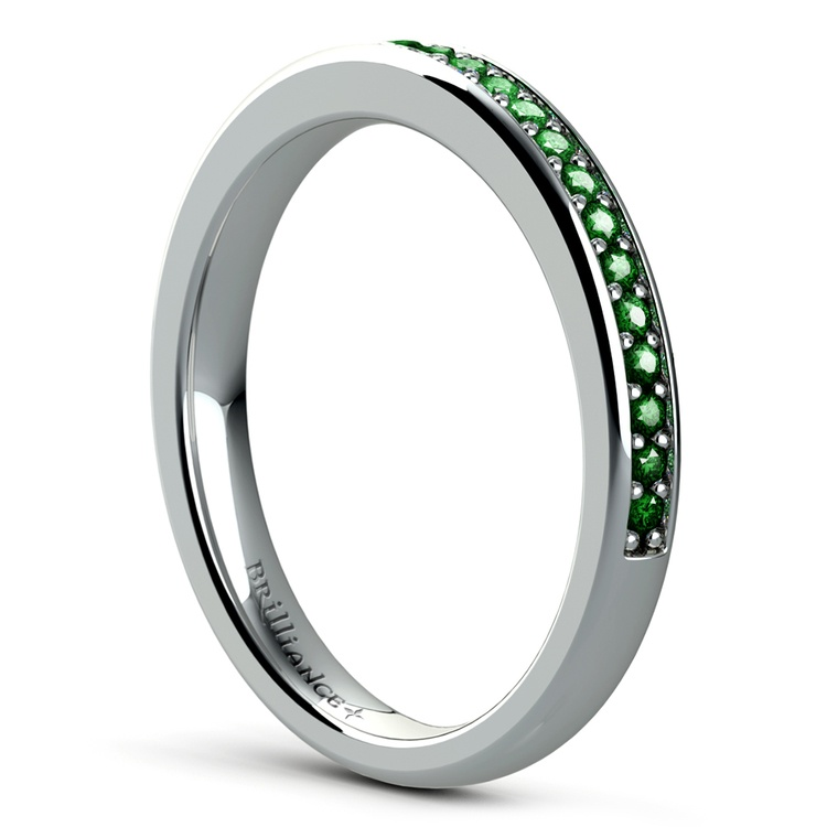 Pave Emerald Gemstone Ring in White Gold | 04