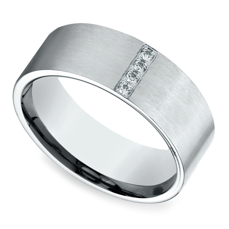Pave Men's Wedding Ring in White Gold (8mm) | 01