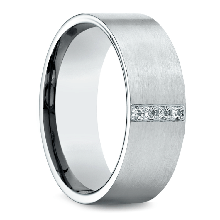 Pave Men's Wedding Ring in White Gold (8mm) | 02