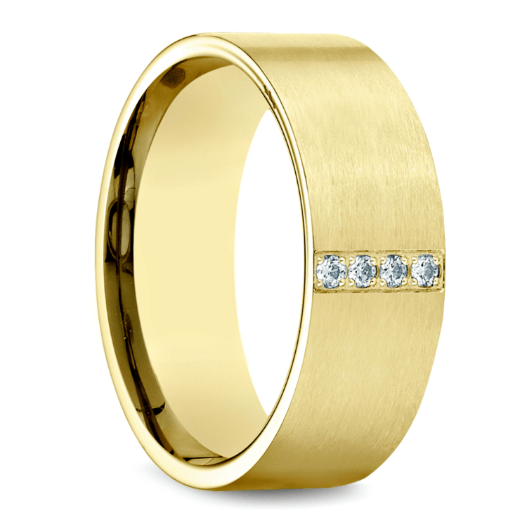 Pave Men's Wedding Ring in Yellow Gold (8mm) | 02