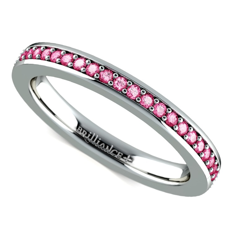 Pave Pink Sapphire Eternity Ring in Platinum | 01