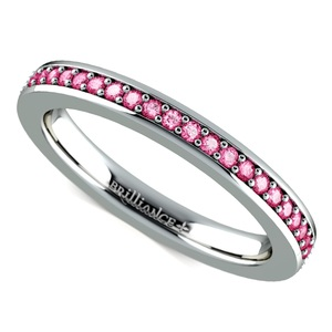 Pave Pink Sapphire Eternity Ring in White Gold