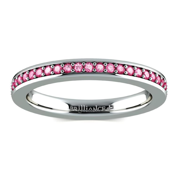 Pave Pink Sapphire Eternity Ring in White Gold | 02