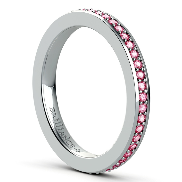 Pave Pink Sapphire Eternity Ring in White Gold | 04