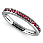 Pave Ruby Gemstone Ring in White Gold | Thumbnail 01