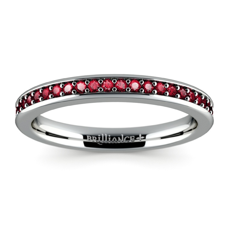 Pave Ruby Gemstone Ring in White Gold | 02