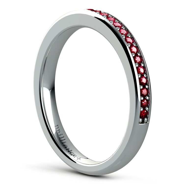 Pave Ruby Gemstone Ring in White Gold | 04