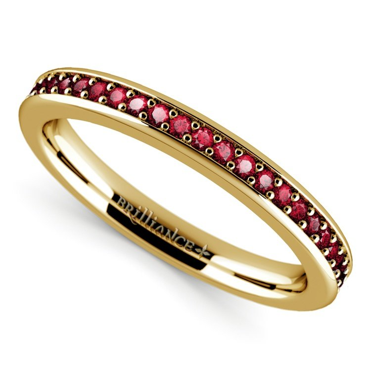 Pave Ruby Gemstone Ring in Yellow Gold | 01