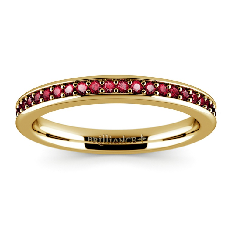 Pave Ruby Gemstone Ring in Yellow Gold | 02