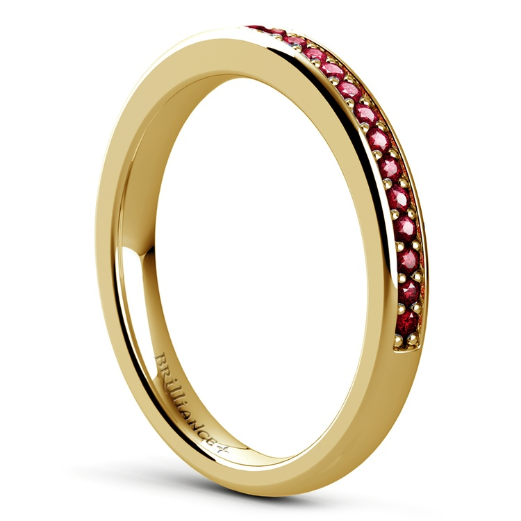 Pave Ruby Gemstone Ring in Yellow Gold | 04