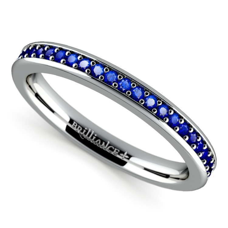Pave Sapphire Ring in White Gold  | 01