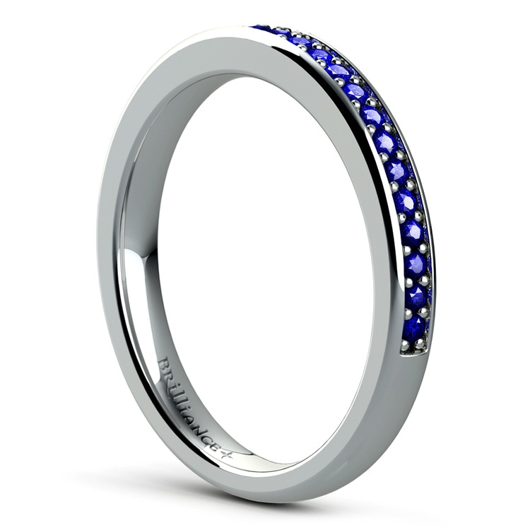 Pave Sapphire Ring in White Gold  | 04