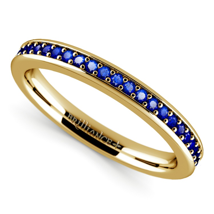 Pave Sapphire Gemstone Ring in Yellow Gold | 01