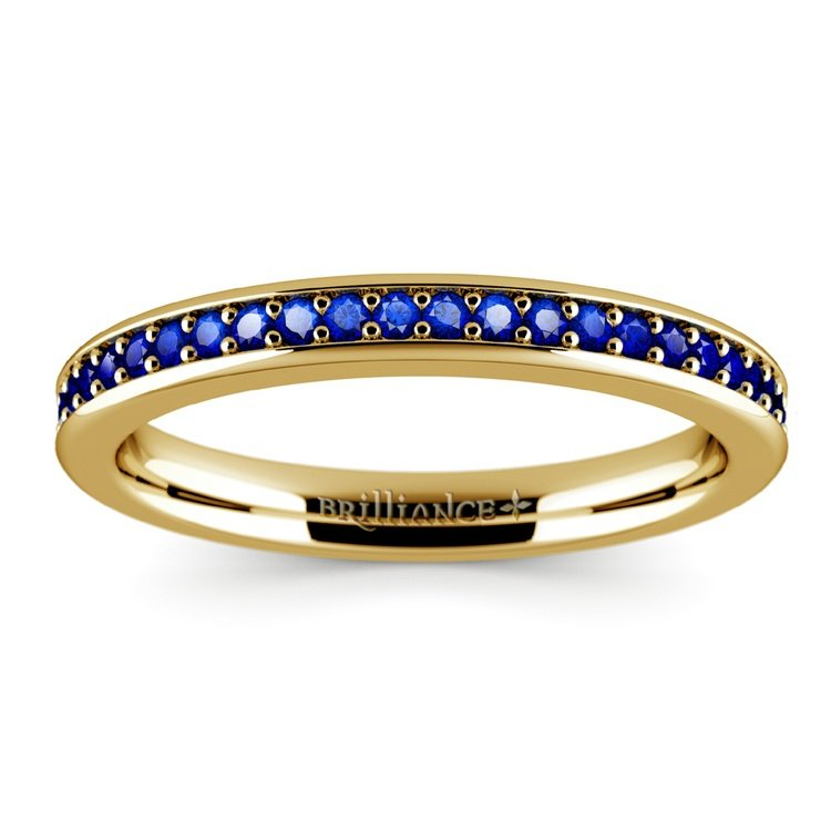 Pave Sapphire Gemstone Ring in Yellow Gold | 02