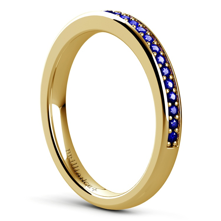 Pave Sapphire Gemstone Ring in Yellow Gold | 04