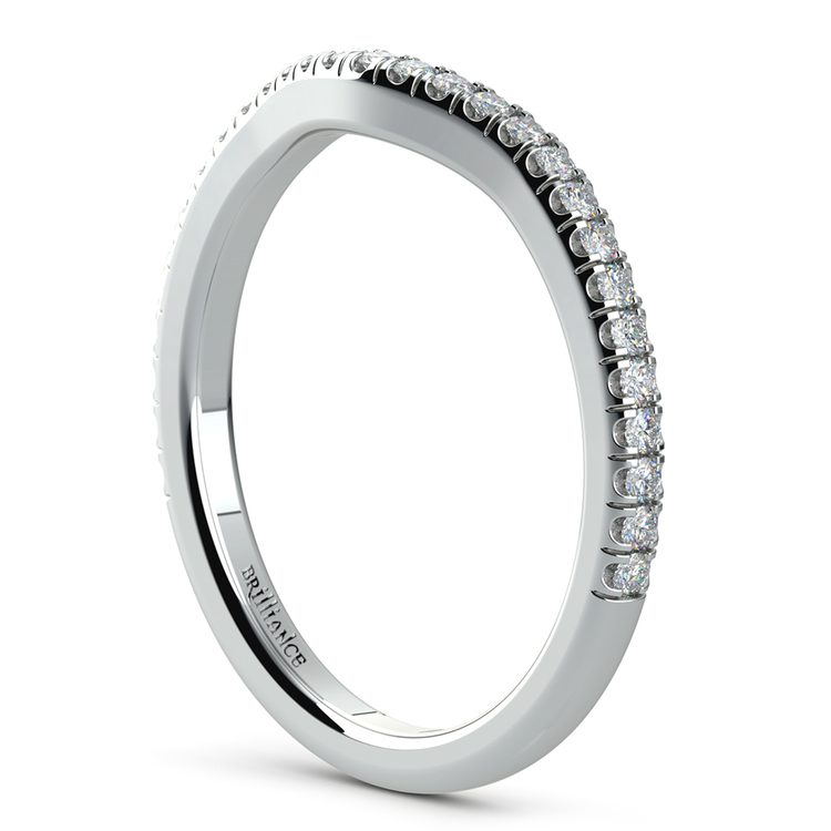 Petite Halo Matching Band in White Gold | 04