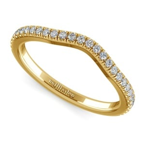 Petite Halo Matching Band in Yellow Gold