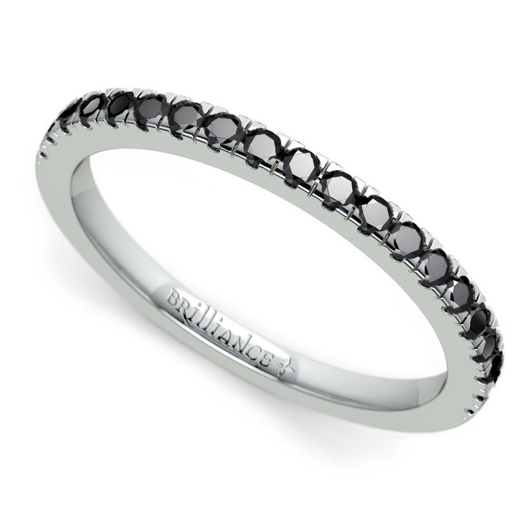 Petite Pave Black Diamond Wedding Ring in White Gold (1/4 ctw) | 01