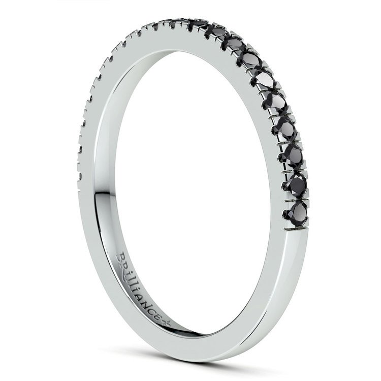 Petite Pave Black Diamond Wedding Ring in White Gold (1/4 ctw) | 04