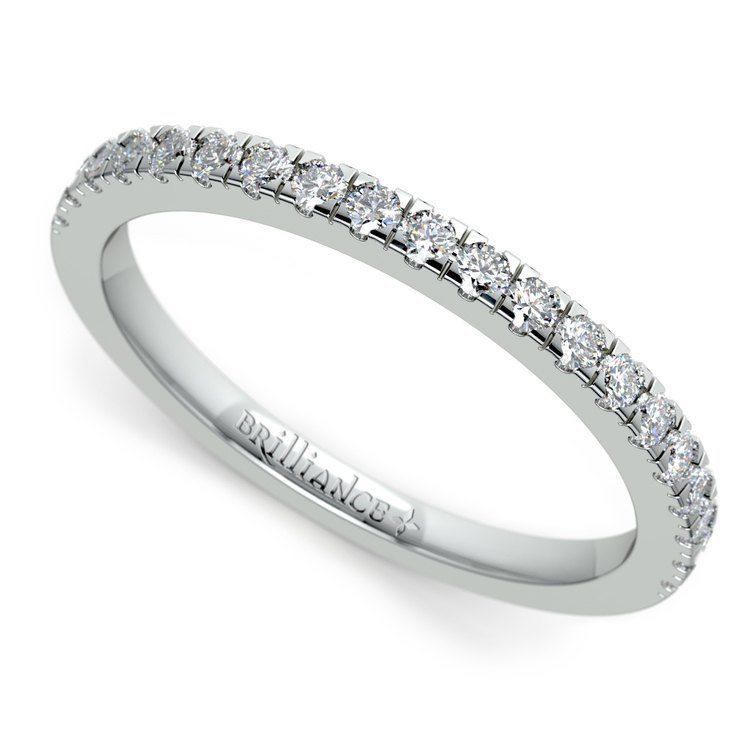 Petite Pave Diamond Wedding Ring in White Gold (1/4 ctw) | 01