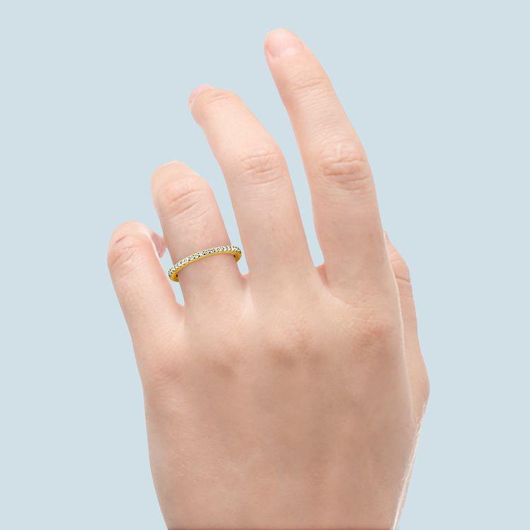 Petite Pave Diamond Wedding Ring in Yellow Gold (1/4 ctw)   06