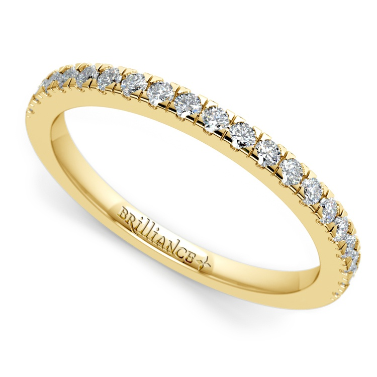 Petite Pave Diamond Wedding Ring in Yellow Gold (1/4 ctw) | 01