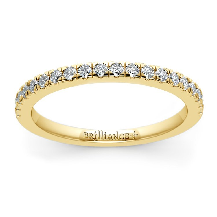 Petite Pave Diamond Wedding Ring in Yellow Gold (1/4 ctw) | 02