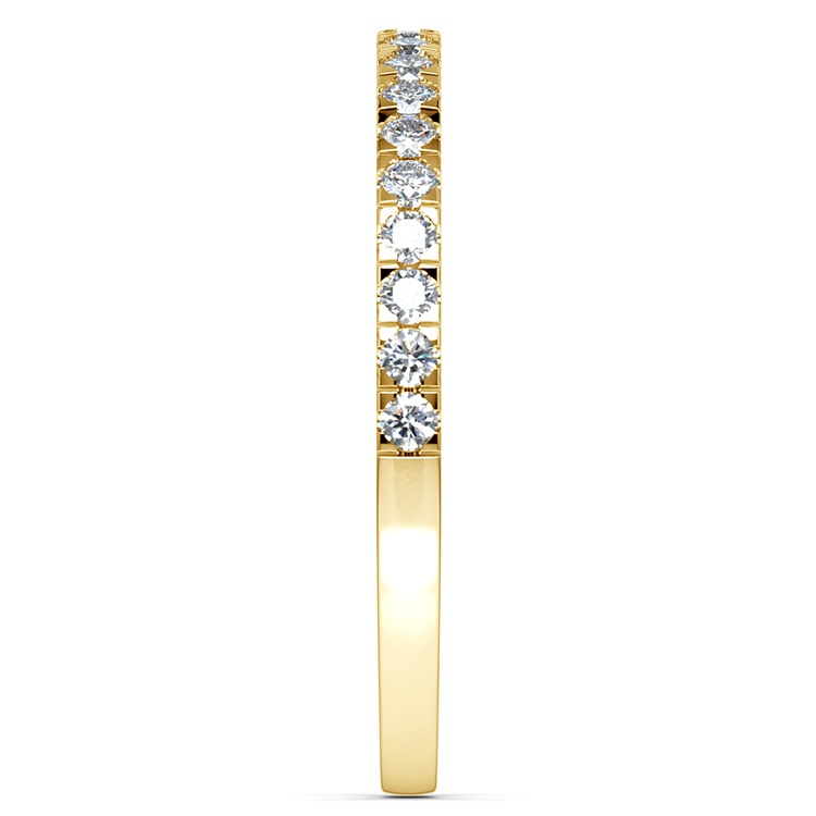 Petite Pave Diamond Wedding Ring in Yellow Gold (1/4 ctw) | 04