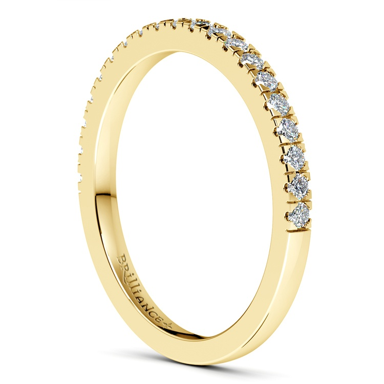 Petite Pave Diamond Wedding Ring in Yellow Gold (1/4 ctw) | 05