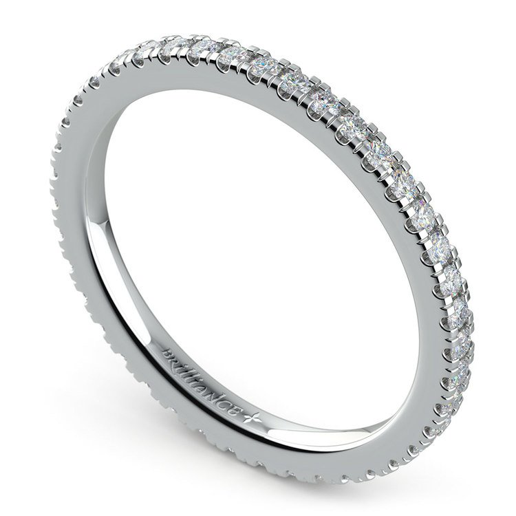 Petite Pave Diamond Eternity Ring in White Gold (1/2 ctw) | 01