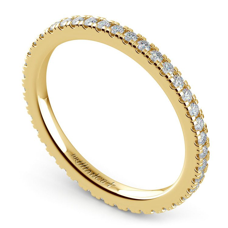 Petite Pave Diamond Eternity Ring in Yellow Gold (1/2 ctw) | 01