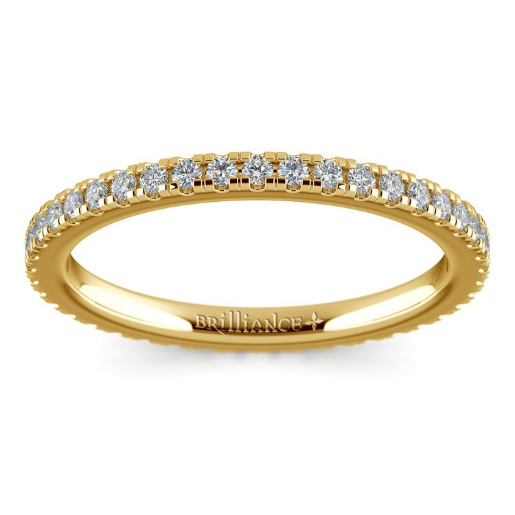 Petite Pave Diamond Eternity Ring in Yellow Gold (1/2 ctw) | 02