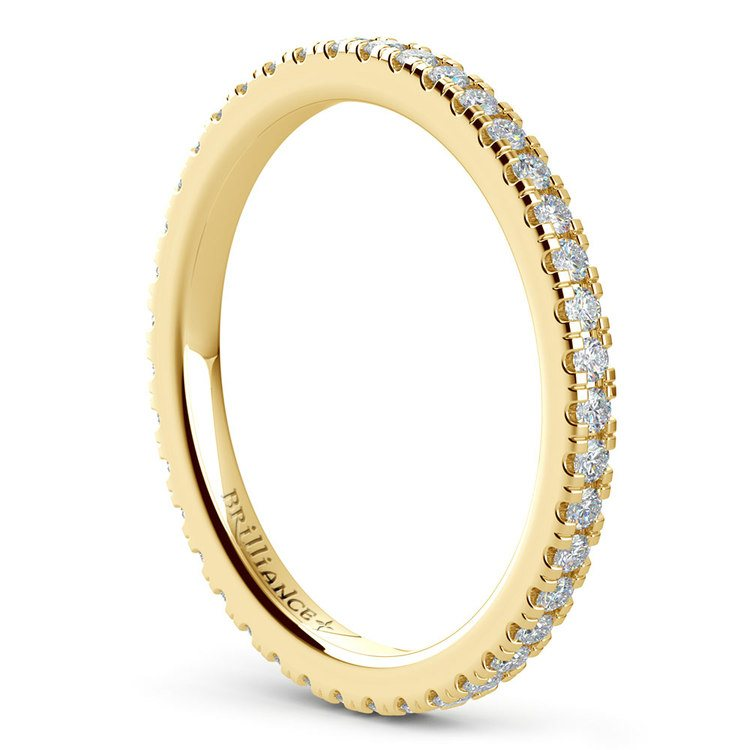 Petite Pave Diamond Eternity Ring in Yellow Gold (1/2 ctw) | 04