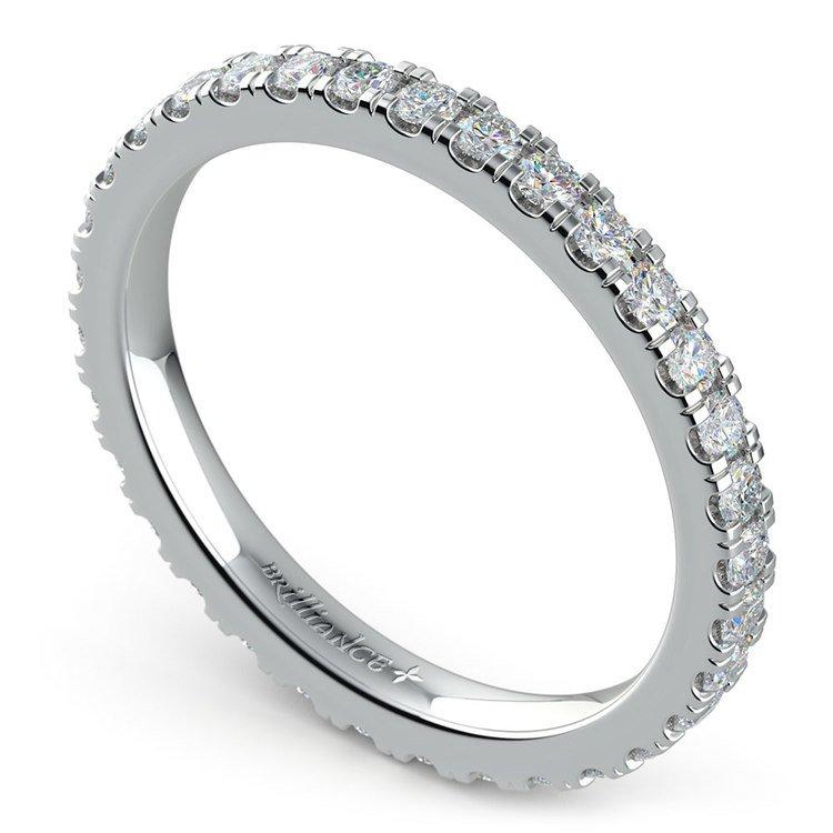 Petite Pave Diamond Eternity Ring in Platinum (4/5 ctw) | 01
