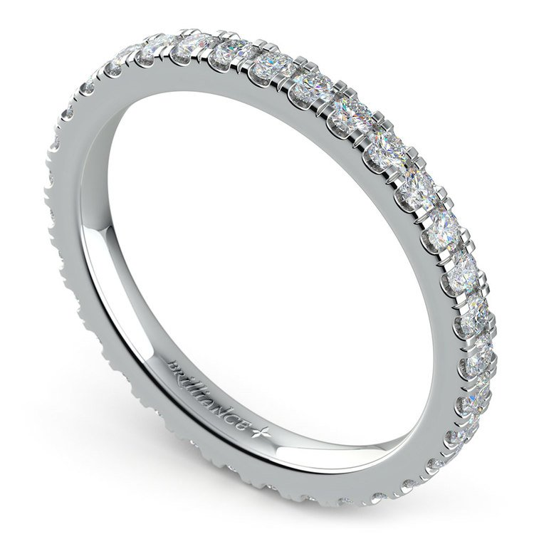 Petite Pave Diamond Eternity Ring in White Gold (4/5 ctw) | 01