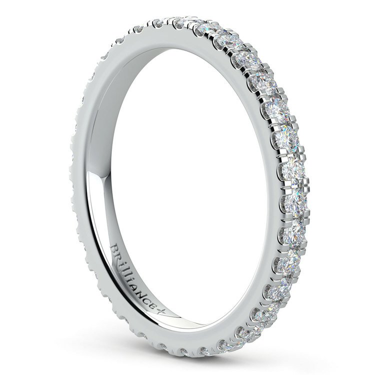 Petite Pave Diamond Eternity Ring in White Gold (4/5 ctw) | 04
