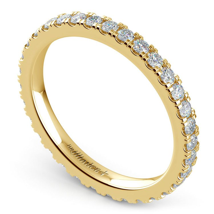 Petite Pave Diamond Eternity Ring in Yellow Gold (4/5 ctw) | 01