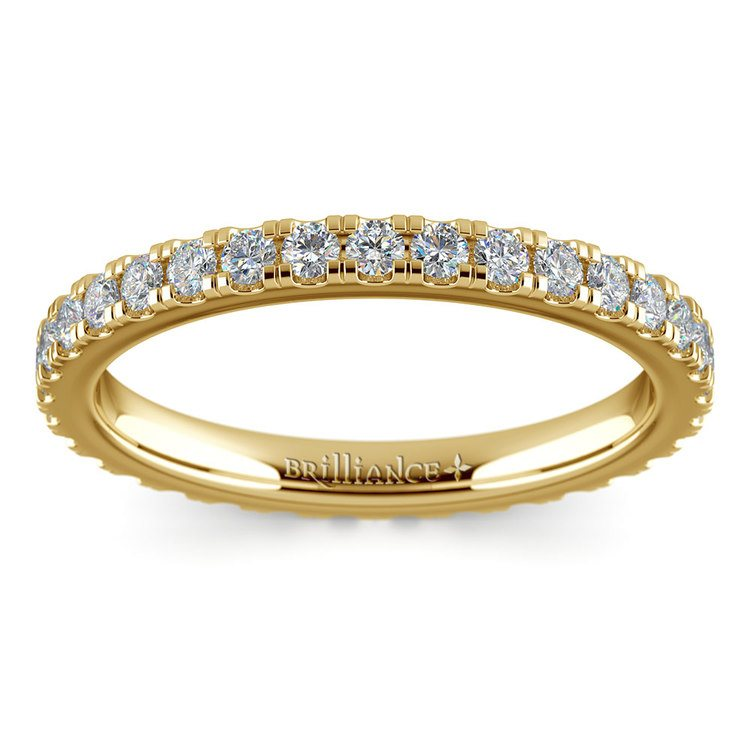 Petite Pave Diamond Eternity Ring in Yellow Gold (4/5 ctw) | 02