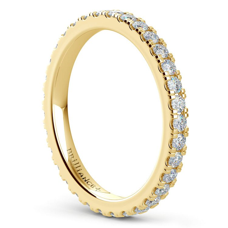 Petite Pave Diamond Eternity Ring in Yellow Gold (4/5 ctw) | 04
