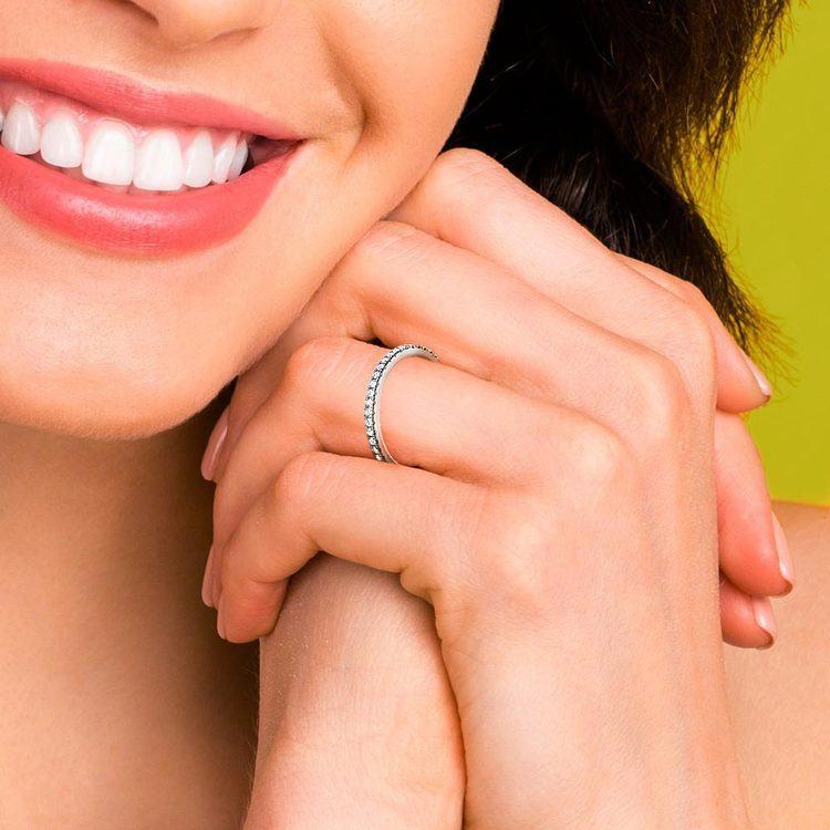 Petite Pave Diamond Eternity Ring in Platinum (5/8 ctw)   06