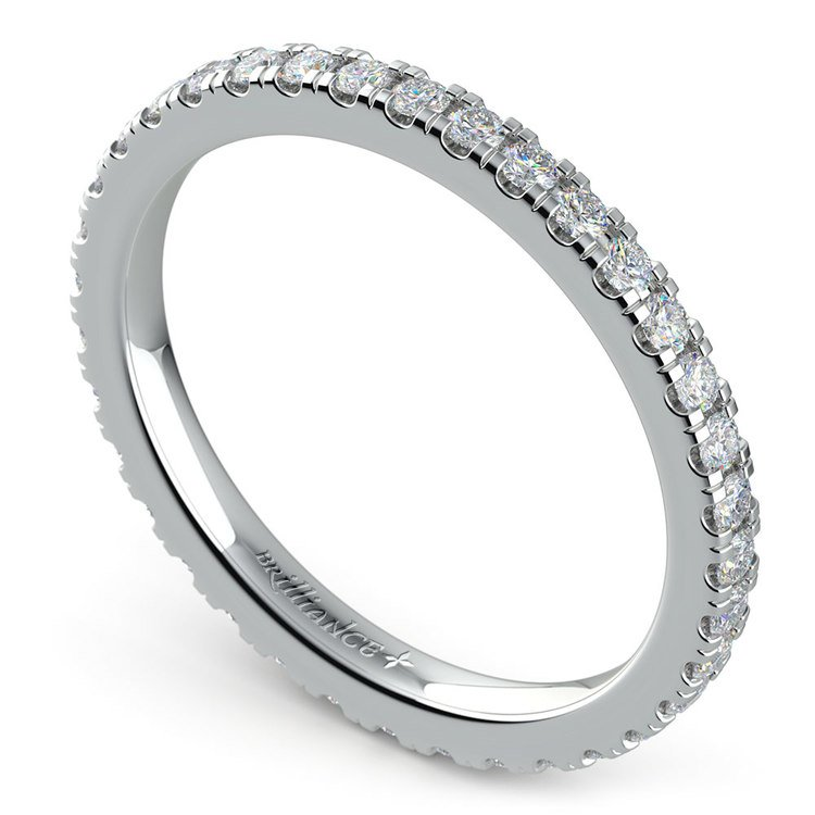 Petite Pave Diamond Eternity Ring in White Gold (5/8 ctw) | 01
