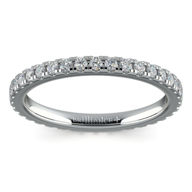 Petite Pave Diamond Eternity Ring in White Gold (5/8 ctw) | 02