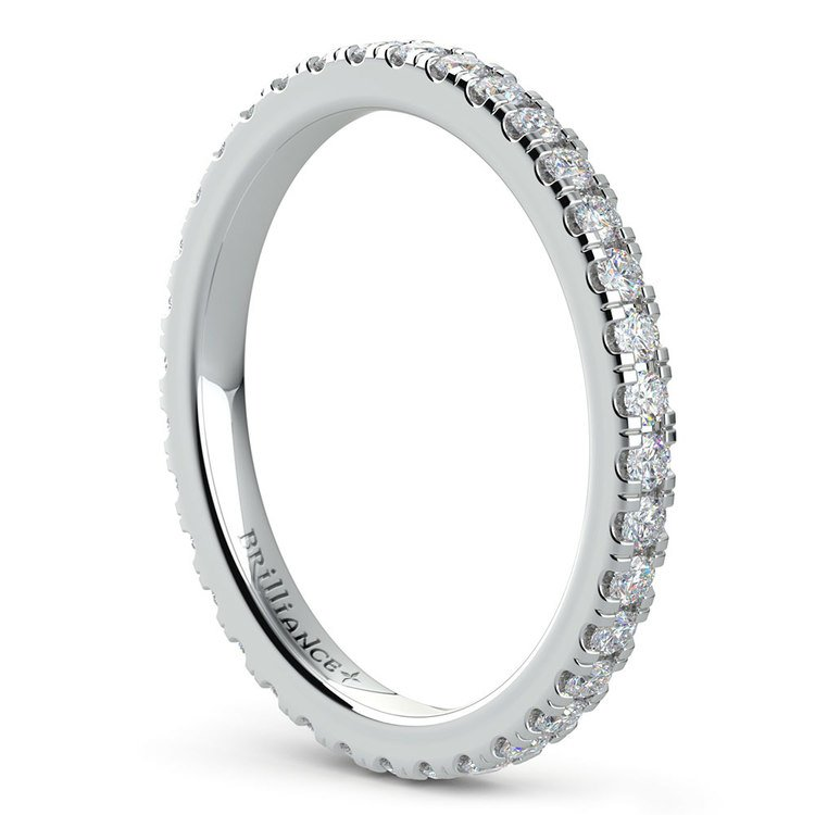 Petite Pave Diamond Eternity Ring in White Gold (5/8 ctw) | 04