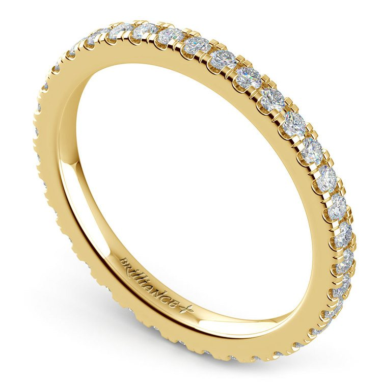 Petite Pave Diamond Eternity Ring in Yellow Gold (5/8 ctw) | 01