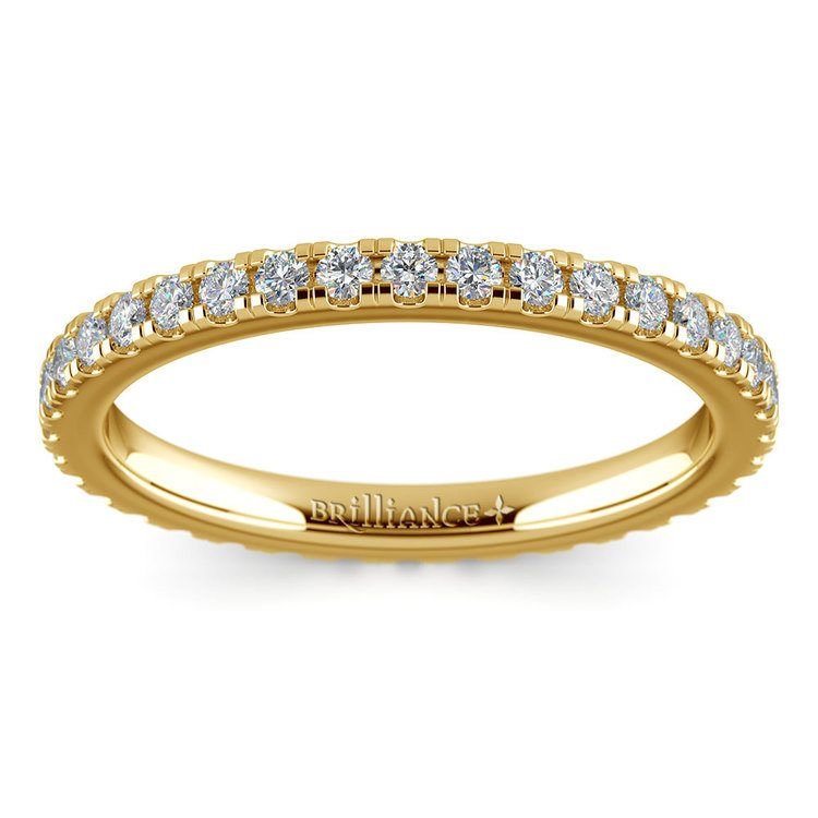 Petite Pave Diamond Eternity Ring in Yellow Gold (5/8 ctw) | 02