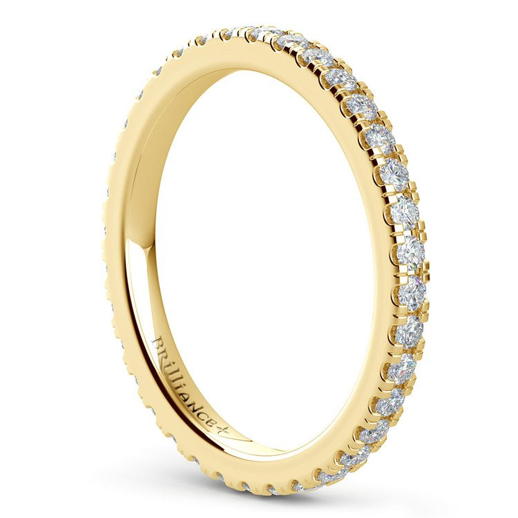 Petite Pave Diamond Eternity Ring in Yellow Gold (5/8 ctw) | 04